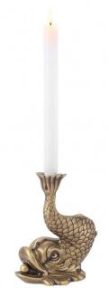 Casa Padrino Luxus Kerzenhalter Koi Karpfen Fisch Vintage Messingfarben 17, 5 x 12, 5 x H. 20, 5 cm - Messing Kerzenständer - Deko Accessoires - Vorschau 1
