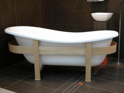 Freistehende Luxus Badewanne Jugendstil Toscane 1675mm Weiß/Holzgestell Hell - Antik Stil Badezimmer