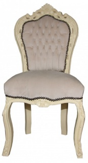 Casa Padrino Barock Esszimmer Stuhl Creme / Creme Antik Look - Möbel Antik Stil