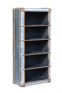 Casa Padrino Art Deco Aluminium Schrank / Bücherregal - Vintage Look Flieger Möbel