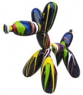 Casa Padrino Designer Deko Skulptur Ballon Hund Schwarz / Mehrfarbig 62 x H. 57 cm - Dekorative Tierfigur - Wetterbeständige Dekofigur