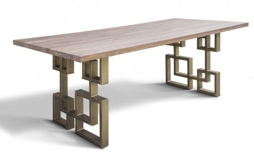 Casa Padrino Luxus Designer Esstisch Eiche Massiv mit Metallbeinen - ALLE GRÖSSEN - Luxus Möbel Tisch