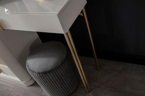 Casa Padrino Luxus Schlafzimmer Schminktisch Set Weiß / Gold / Grau - 1 Schminkkommode mit Spiegel & 1 Hocker - Luxus Schlafzimmer Möbel - Vorschau 5