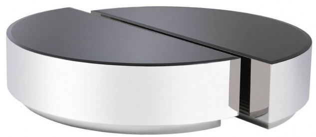 Casa Padrino Luxus Couchtisch Set Silber / Schwarz - 2 halbkreisförmige Edelstahl Wohnzimmertische mit abgeschrägten Glasplatten - Luxus Wohnzimmer Möbel