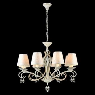 Casa Padrino Barock Decken Kristall Kronleuchter Weiß Gold 76 x H 59 cm Antik Stil - Möbel Lüster Leuchter Hängeleuchte Hängelampe