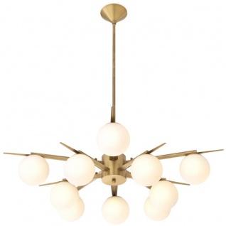 Casa Padrino Luxus Kronleuchter Antik Messingfarben / Weiß Ø 90 x H. 20 cm - Luxus Möbel - Vorschau 3