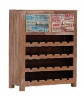 Casa Padrino Wein Schrank mit 2 Schubladen - Antik Stil Vintage Look Holz