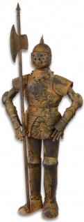 Casa Padrino Mittelalter Ritterrüstung mit Lanze Antik Braun H. 92 cm - Deko Eisen Rüstung in Rostoptik