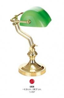 Wunderschöne Schreibtischleuchte mit Glaskristallschirm, Bankerlampe in Gold/Grün, H 37cm, D 26cm LB28