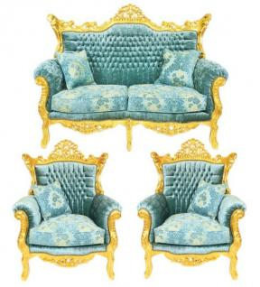 Casa Padrino Barock Wohnzimmer Set Master Türkis-Blau Muster Samtstoff / Gold - 2er Sofa + 2 Sessel - Limited Edition! - Vorschau 1