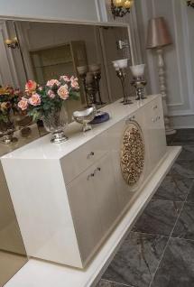 Casa Padrino Luxus Barock Sideboard mit Spiegel Weiß / Beige - Massivholz Schrank mit elegantem Wandspiegel - Edel & Prunkvoll