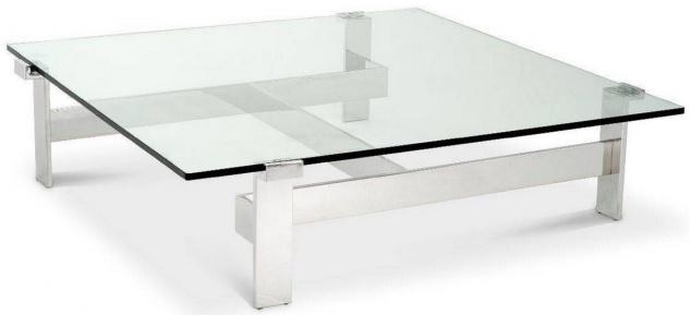 Casa Padrino Luxus Couchtisch Silber 120 x 120 x H. 30 cm - Quadratischer Edelstahl Wohnzimmertisch mit Glasplatte - Wohnzimmer Möbel - Luxus Qualität