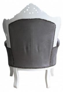 Casa Padrino Barock Sessel Lord Grau / Weiß - Antik Stil - Vorschau 2