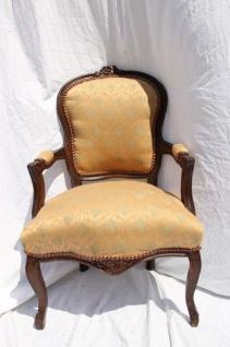 Barock Salon Stuhl Apricot Muster/Braunb - Antik Stil Möbel