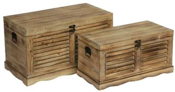 Casa Padrino Landhausstil Truhen 2er Set Naturfarben - Handgefertigte Holztruhen mit Lamellenoptik