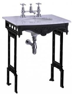 Casa Padrino Luxus Jugendstil Stand Waschtisch Weiß / Schwarz mit Marmorplatte - Barock Waschbecken Barockstil Antik Stil