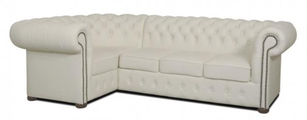 Casa Padrino Chesterfield Echtleder Ecksofa Weiß 260 x 160 x H. 78 cm - Luxus Wohnzimmermöbel
