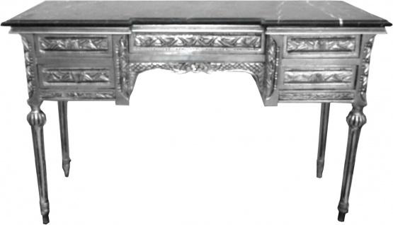 Casa Padrino Barock Konsole Silber mit Marmorplatte und 5 Schubladen 126 x 43 x H79 cm - Konsolentisch Sekretär - Möbel