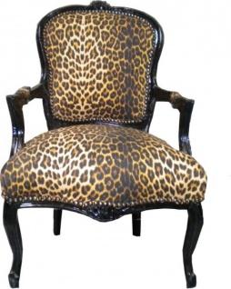 Casa Padrino Barock Salon Stuhl Leopard / Schwarz