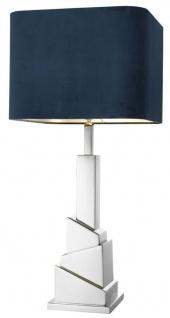 Casa Padrino Luxus Tischleuchte mit blauem Lampenschirm 19 x 40 x H. 86, 5 cm - Wohnzimmer Tischlampe