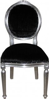 Casa Padrino Barock Medaillon Luxus Esszimmer Stuhl ohne Armlehnen in Schwarz / Silber - Limited Edition