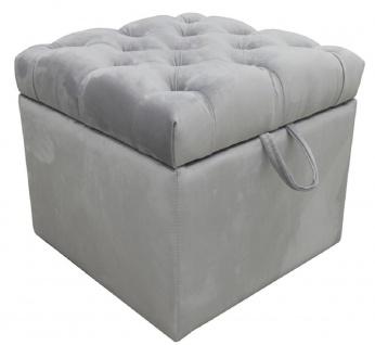 Casa Padrino Luxus Chesterfield Truhe mit Sitzfläche 50 x 50 x H. 48 cm - Verschiedene Farben - Gepolsterter klappbarer Hocker - Hocker Truhe - Luxus Qualität