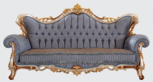 Casa Padrino Luxus Barock Wohnzimmer Set Blau / Kupfer / Silber / Braun / Gold - 2 Sofas & 2 Sessel & 1 Couchtisch - Handgefertigte Wohnzimmer Möbel im Barockstil - Edel & Prunkvoll - Vorschau 2