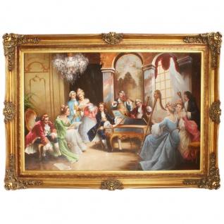 Riesiges Handgemaltes Barock Öl Gemälde Abend mit Klassischer Musik Mod.2 Gold Prunk Rahmen 225 x 165 x 10 cm - Massives Material