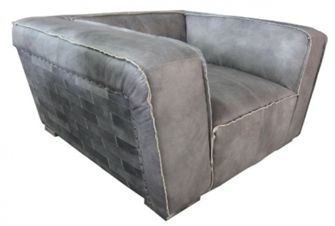 Casa Padrino Echtleder Sessel Grau 131 x 110 x H. 67 cm - Luxus Leder Möbel
