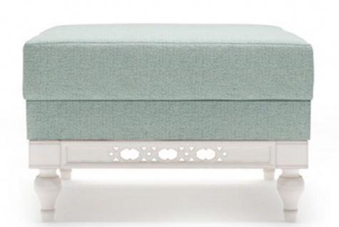 Casa Padrino Luxus Jugendstil Hocker Mintgrün / Weiß 62 x 62 x H. 47 cm - Luxus Qualität
