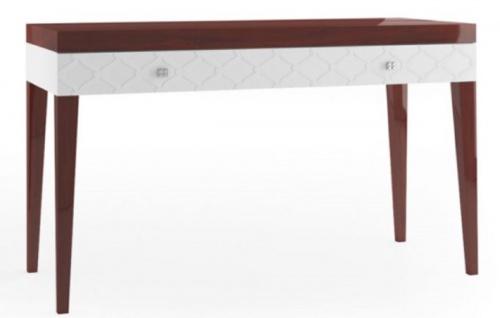 Casa Padrino Luxus Konsolentisch mit Schublade Hochglanz Braun / Weiß 111, 2 x 45 x H. 83 cm - Luxus Möbel - Vorschau