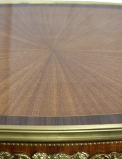 Casa Padrino Luxus Barock Beistelltisch Mahagoni Intarsien mit Messingapplikationen 90 x 53 x H77 cm - Vorschau 5