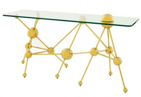 Casa Padrino Luxus Konsolentisch Edelstahl / Glas Gold Astronomy - Art Deco Konsole