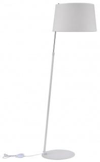 Casa Padrino Stehleuchte in weiß / silber mit weißem Lampenschirm Ø 42 x H. 140-170 cm - Stilsichere Leuchte mit Metallrahmen und verstellbarer Halterung