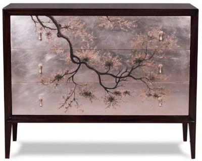 Casa Padrino Luxus Art Deco Kommode Dunkelbraun / Mehrfarbig 120 x 49 x H. 94 cm - Edle Mahagoni Kommode mit 3 Schubladen und elegantem japanischen Design - Luxus Möbel