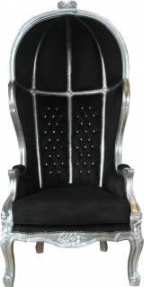Casa Padrino Barock Thron Sessel Victory Schwarz / Silber mit Bling Bling Glitzersteinen - Balloon Chair - Thron Stuhl Tron