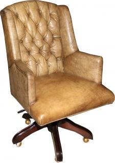 Casa Padrino Luxus Echtleder Chefsessel Büro Stuhl Hellbraun Drehstuhl Schreibtisch Stuhl - Chefbüro