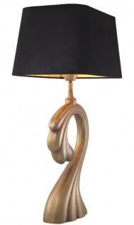 Casa Padrino Tischleuchte Vintage Messingfarben / Schwarz 41 x 26, 5 x H. 69 cm - Luxus Tischlampe mit Samt Lampenschirm