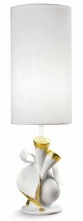 Casa Padrino Luxus Tischleuchte Porzellan Nature Weiß / Gold H54 x 16 cm - Luxus Beleuchtung Tischlampe