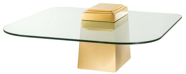 Casa Padrino Luxus Couchtisch / Wohnzimmertisch Gold 105 x 105 x H. 44 cm - Luxus Wohnzimmermöbel