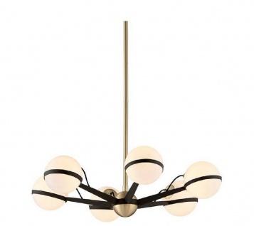 Casa Padrino Luxus LED Kronleuchter Bronze / Messing / Weiß Ø 70, 5 x H. 16, 5 cm - Kronleuchter mit kugelförmigen Lampenschirmen - Luxus Qualität