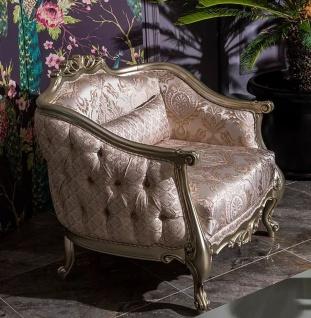 Casa Padrino Luxus Barock Sessel Rosa / Silber 100 x 76 x H. 89 cm - Wohnzimmer Sessel mit elegantem Muster und dekorativem Kissen - Barock Möbel