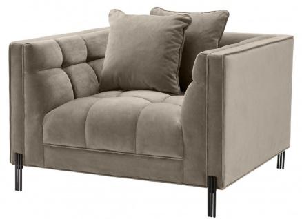 Casa Padrino Luxus Samt Sessel mit 2 Kissen Greige / Schwarz 104 x 95 x H. 68 cm - Luxus Wohnzimmer Möbel