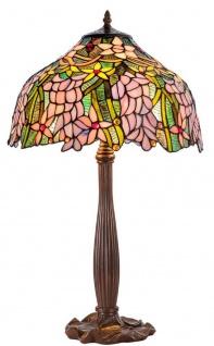 Casa Padrino Luxus Tiffany Tischleuchte Braun / Mehrfarbig Ø 40 x H. 62 cm - Deko Lampe aus 576 Teilen handgefertigt