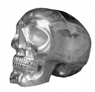 Casa Padrino Designer Skull Mod1L silber Höhe 16, 5 cm, Breite 14 cm, Tiefe 18 cm, Totenkopf - edle Skulptur aus Aluminium vernickelt