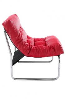 Designer Salon Stuhl Rot Lederoptik, sehr komfortabler Sitz, moderner Wohnzimmerstuhl - Vorschau 4