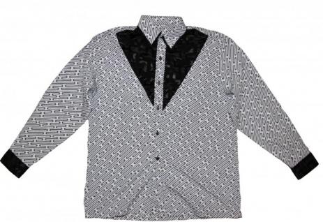 Thai Seidenhemd von Il Padrino Moda Black/White Mod1- Hawaii Langarm hemd