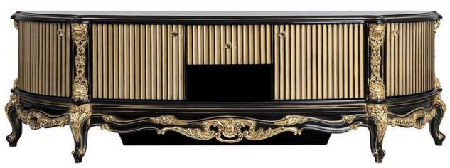 Casa Padrino Luxus Barock TV Schrank Schwarz / Gold - Prunkvolles Massivholz Sideboard mit 4 Türen und Schublade - Barock Wohnzimmer Möbel