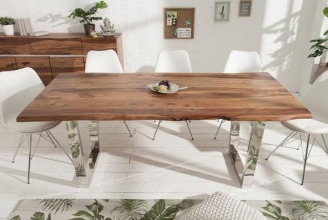Casa Padrino Designer Esstisch Braun / Silber 200 x 98 x H. 76 cm - Luxus Küchentisch mit massiver Sheesham Holz Tischplatte und polierten Edelstahl Beinen