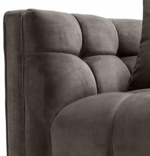 Casa Padrino Luxus Samt Sessel mit 2 Kissen Grau / Messingfarben 104 x 95 x H. 68 cm - Luxus Wohnzimmer Möbel - Vorschau 5